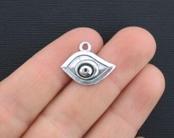 10 Eye Charms Antique Silver Tone - SC3068