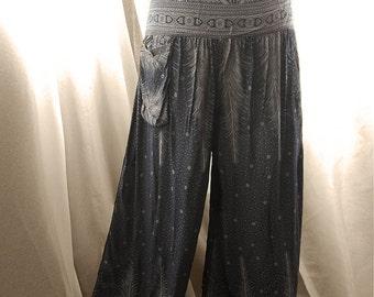 Harem Pants Boho Yoga Palazzo Gypsy Wide Leg Hippie Cotton Aladin Bohemian Moroccan Gray Paisley Meditation Elven Lantern Grunge Eco