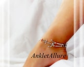 Sail Away Cruise Vacation Anchor Anklet Simple Copper Double Strand White Silver Ankle Bracelet