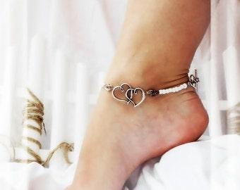Gypsy Beach Romance Double Love Heart Charm Anklet Shell Ankle Bracelet