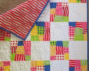 New Baby Quilt Modern Child Travel Quilt Blue Binding
