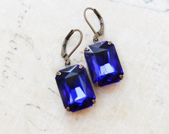 Sapphire Blue Earrings Rhinestone Drop Earrings Dark Blue Glass Jewel Vintage Style Jewelry Old Hollywood Nickel Free Leverback Gift for Mom