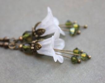 White Flower Earrings Lucite Flower Earrings Long Dangle Earrings Trumpet Flower Bellflower Green Drop Woodland Forest Wedding Jewelry