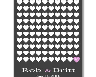 Heart  Guestbook Alternative Print--  To Be Personalized With Guest's Signatures - 16x20 - 100 Signature Wedding Guest Book