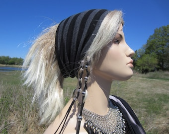 WIDE Hairband Headband Black Lightweight Cotton  Hair wrap Striped Tube Hat A1382