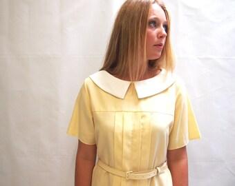 Vintage 1960's pastel yellow and white midi dress