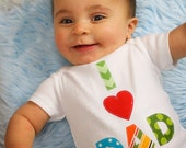 Size 9m I Love Dad Bodysuit New Dad Gift Baby Shower Heart Chevron Polka Dot Tee Gender Neutral 6-9m Ready to Ship