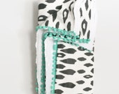 Black Ikat Drops Pom Pom Throw - Adult Throw with Minky - Black and White Large Blanket - Turquoise Mini Pom Poms