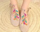 Coloured Tassels Leather Handmade Mary Jane Ballet Flats