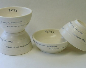 Four Inner Planet Small Porcelain Prep Bowls