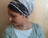 Gray & dark blue tichel,head scarf,apron, hijab, headscarf, aprons, head covering, headcovering, hair snood, head tichel, Israel