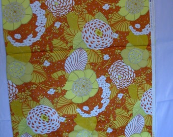 Ascher Studio Asian Floral Orange, Yellow Zinnias Stretch Cotton   1 Yard   (SM23)