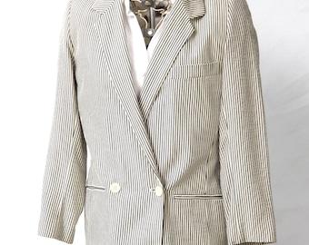 Womens Suit Jacket, Pinstripe Blazer Jacket, Designer Donna Karan Jacket, Size Small 4 6