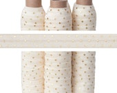 Ivory with Metallic Gold Dots - Fold Over Elastic - 5 YARDS