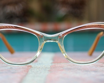 Vintage Deadstock 50's Century Cat Eye Combo frames Clear Bronze Gold Rhinestones  - FREE Domestic Shipping