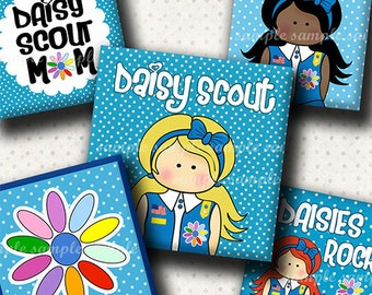 INSTANT DOWNLOAD Daisy Girl Scout (656) 4x6 Digital Collage Sheet 1 inch square images for glass tiles resin pendants magnets stickers ..