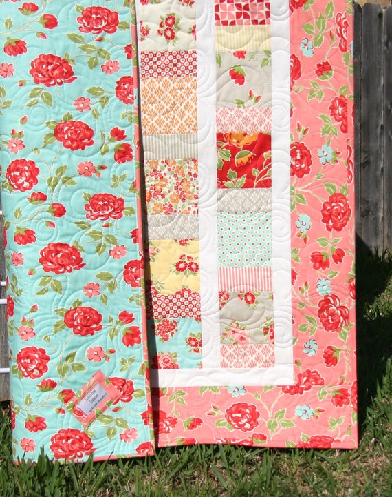 Marmalade Baby Quilt Girl Crib Bedding Red Aqua Floral