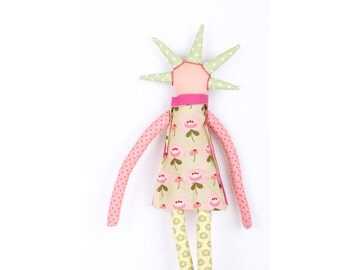 Peach timo handmade Modern rag doll in pastel spikes haircut ,Sage green floral , pink collar dress  & Light yellow pants- eco fabric doll