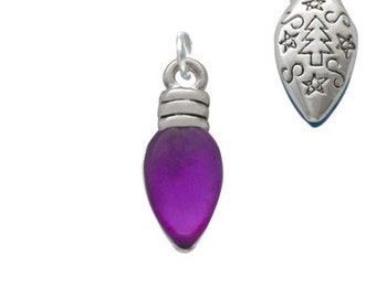 Christmas Lights, Silver Plated, Translucent Purple Resin Charm, Qty.1