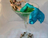 Mermaid in a Martini glass CUSTOMIZED to your features Hand Sculpted in Clay