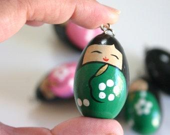 Tamago chan- 1 Wooden GREEN Japanese Kokeshi doll charm