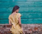 Mustard dress, yellow midi dress, autumn fall fashion, party clothing, custom size