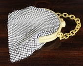 Vintage Pearl Chain Mall Purse with Bakelite Chain - Pearl