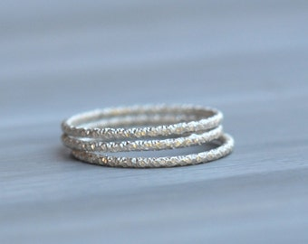 Sterling Silver Stack Ring - Set of 3 Faceted Silver Stacking Rings Made in your size