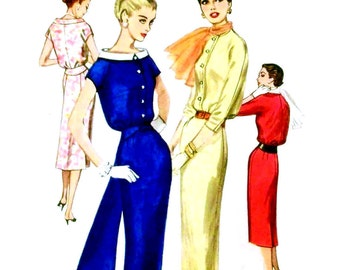 Vintage 1950s Cocktail Dress Pattern Uncut Bust 32 Size 12 Simplicity 1880