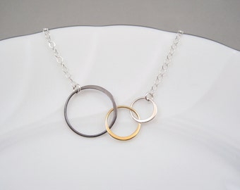 Mixed Metal Three Circle Necklace | Triple Circle Necklace | Linked Eternity Circles Necklace | Entwined Rings | Interlocking Circles