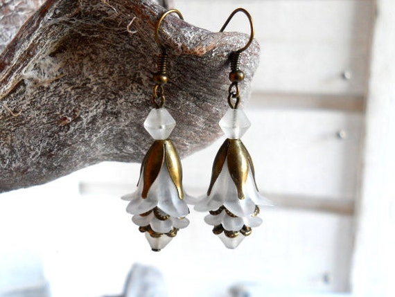 lucite flower earrings in white and bronze white dangle earrings white and bronze