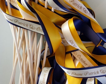 50 Personalized  Wedding Wands colors Sticks With Bells  Fall Outdoor Something Blue Beach Farm Barn Ocean Streamers Bubbles Birthday Party
