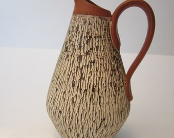 Sawa West German Art Pottery - Small Red Clay Pitcher with Sgraffito Design