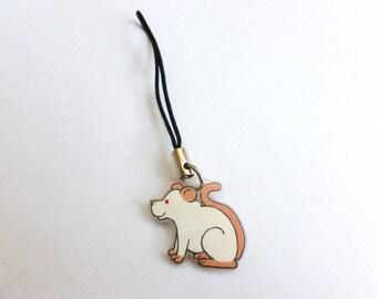 Fancy Rat Phone Charm PEW Lab Rat Pet Rat Animal Charm
