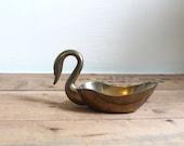 Vintage Brass Swan Trinket Dish or Bowl
