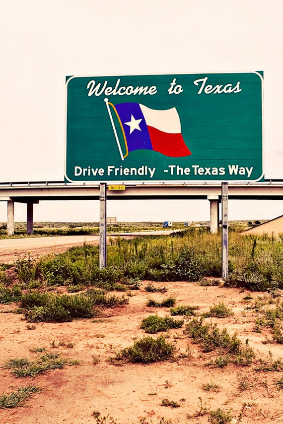 Welcome to Texas Roadside Sign - Summer Road Trip - Travel Inspired Route 66 Art - State Sign Art - Texas Flag - Fine Art Photography