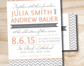MODERN CHEVRON Invitation/Response Card - 100 Professionally Printed Double Sided Invitations & Response Postcards