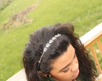 Awesome Skull Hair Stretch Band, Goth, Scene, Hipster, Punk, Rave,Emo, Handmade By: Tranquilityy