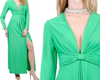 Vintage 60s Evening Dress / Long Maxi Dress / Vintage Green Hostess Dress / Party Dress / S / M