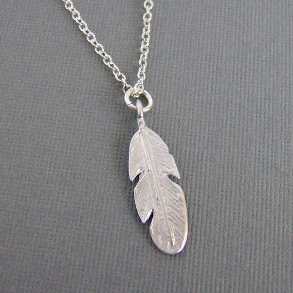 Silver Feather Necklace, Feather Charm, Everyday Jewelry