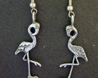 Sterling Silver Flamingo Earrings on Heavy Sterling Silver French Wires