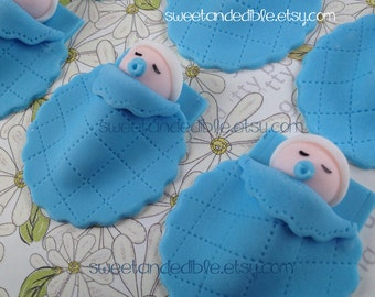 BOY BABY SHOWER Edible Cupcake Toppers