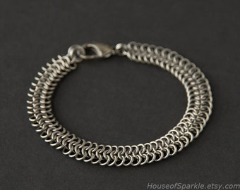 Stainless steel chainmaille bracelet for him. Chainmail jewellery. Man's thin band chainmail bracelet. Stainless steel jewelry. Gift for him