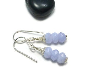 Blue Lace Agate Earrings, Stone Earrings, Agate Earrings, Dangle, Blue Earrings
