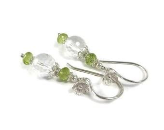 Peridot Earrings, Crystal Quartz Earrings, Sterling Silver, Mother's Day, Dangle Earrings, August Birthstone, Stone Earrings