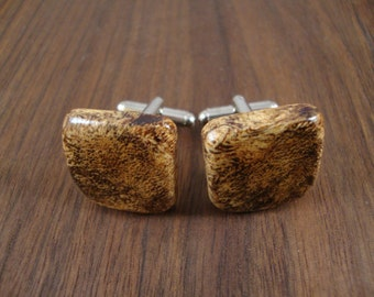 Men's Wooden Cuff Links - Spalted Maple Burl Wood - Wedding, anniversary, any Special Occasion