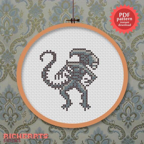 Alien PDF cross stitch pattern