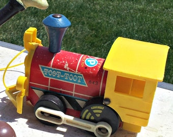 Vintage Fisher Price Toot Toot Train - Shabby Chic Children's Toy Train for Play or Display