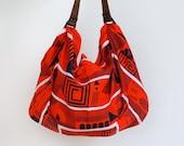 Maze furoshiki bag (cinnabar red) & brown leather carry strap set