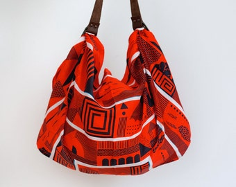 Maze furoshiki bag (cinnabar red) & brown leather carry strap set
